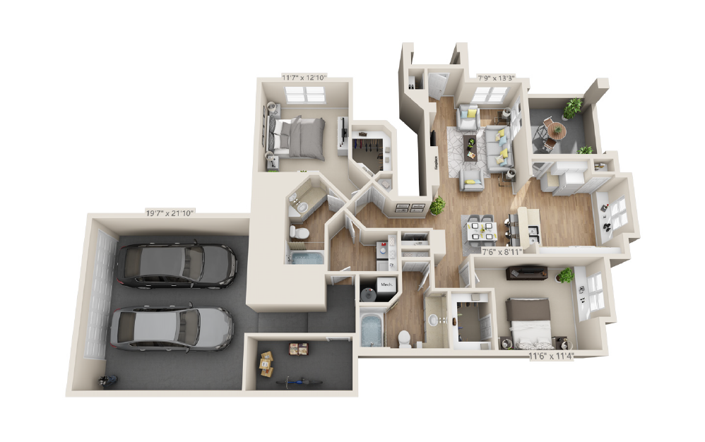 Red Canyon - Castlewood Canyon - 2 bedroom floorplan layout with 2 baths and 1255 square feet.