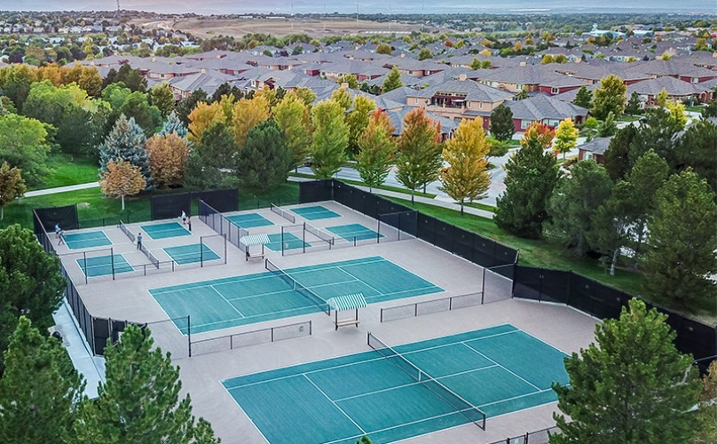 Aerial view of the three full size tennis courts